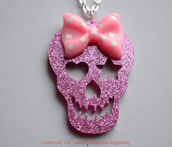 Pink sparkle skull